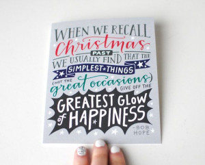 Holiday Greeting Card // Bob Hope Quote, Hand Lettered, Grey, Navy ...