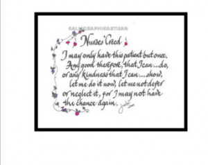 Spiritual and Inspirational Nurses Calligraphic Print of Nurses ...