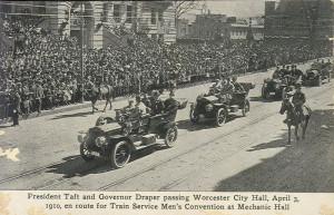 President Taft in a motercade in Worcester, Massachusetts, 1910 ...