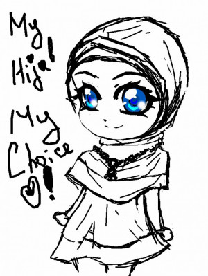 Hijab Poster With Cute Muslim Woman Drawing