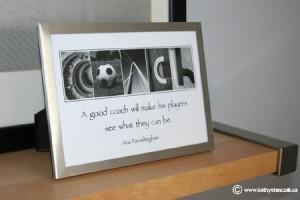 COACH framed to 5x7, $10 or 8x10, $20 (chrome frame)