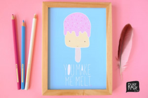 Photo of Quote poster 'You make me melt' - digital files - Valentine's ...