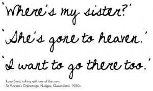 handwritten text on a white background reads: 'Where's my sister ...