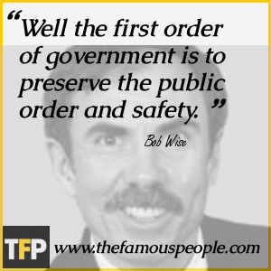 ... first order of government is to preserve the public order and safety
