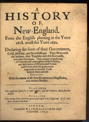 Edward Johnson, A History of New-England