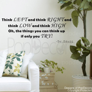 Think left and right-words and letters quote decals