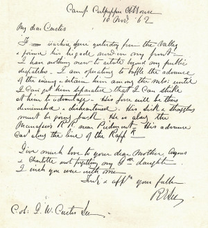 Copy of a letter from Robert E. Lee to Custis Lee, 1862.