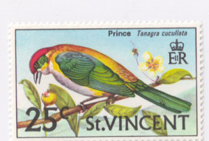 ST. VINCENT STAMP. BIRDS OF ST. VINCENT. TANAGRA CUCULLATA.