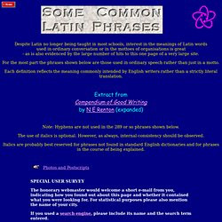 Common Latin Phrases. Photos and Postscripts The honorary webmaster ...