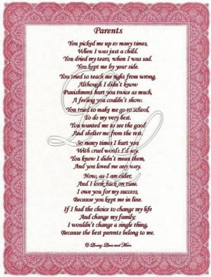 Parents poem is for parents telling them they are the best. Poem may ...