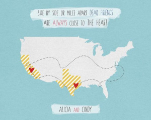 Long distance friendship love or family quote map personalized for ...