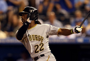 Andrew McCutchen leads the majors with a .374 batting average.