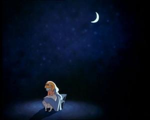alice in wonderland, blue, lonely, moon, night, sad