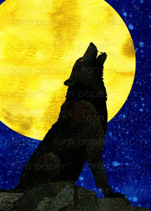 Howling Wolf Scary Halloween Card Quote Bram by tornpaperco, $4.00