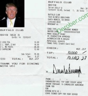 Donald Trump tipped a waiter $10,000 after running up a $82 tab at The ...