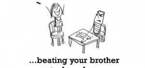 Happiness is, beating your brother at a board game.