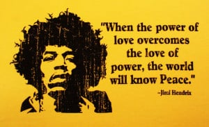 T122 - Power of Love - Jimi Hendrix Quote Unisex T-shirt