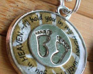 ... you in heaven... silver bronze word quote phrase pendant with chain