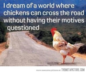 Funny photos funny chicken crossing the road