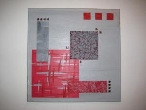 Tableau abstrait déco rouge et gris