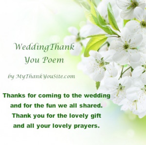 Wedding Poems for Thank You Cards and Notes