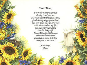 ... Poem from Daughter-in-La w to Mother-in-Law with Sunflowers & Love