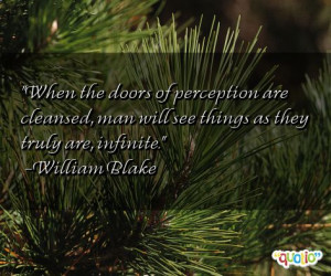 When the doors of perception are cleansed, man will see things as they ...