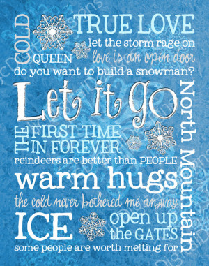 Frozen Inspired Fan Art Subway Art Printable Digital Poster Decoration ...