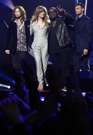 Steven standing with fellow judges Jennifer Lopez and Randy Jackson ...