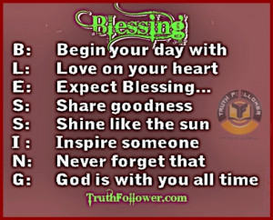 Blessing, Being Blessed Quotes