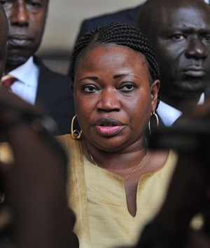 file photo taken on June 28, 2011 shows Fatou Bensouda (C), Deputy ...