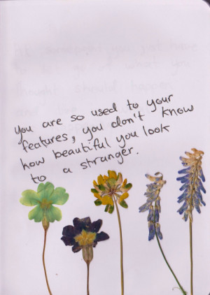 You are so used to your features, you don't know how beautiful you ...