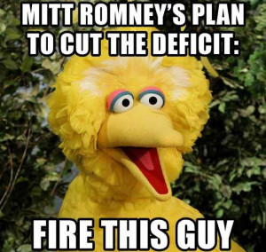 Picture of Big Bird with text