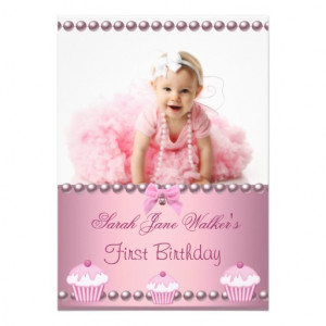 First 1st Birthday Girl Pink Cupcakes Baby Announcements