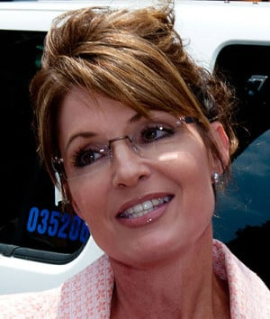 Sarah Palin speaks with the press outside the Liberty Bell Center ...