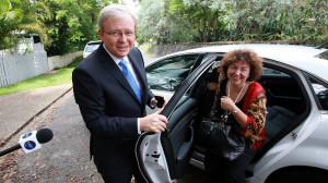 Kevin Rudd goes off to church, Julia Gillard puts faith in footy