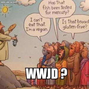 Funny WWJD Galilee Fish Bread Miracle Vegan Gluten-free Cartoon Joke ...