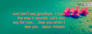 Just don't say goodbye...I hate the way it sounds..Let's just say for ...