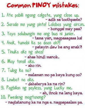 Funny Common Pinoy Mistakes - Pinoy Funny Jokes Images
