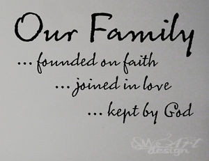 our Family faith love god WALL DECAL LETTERING QUOTE HOME MODERN vinyl ...