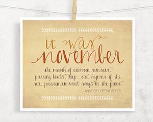 November Anne of Green Gables Typog raphy print, Fall Autumn Art ...