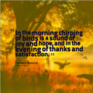 In the morning chirping of birds is a sound of joy and hope, and in ...