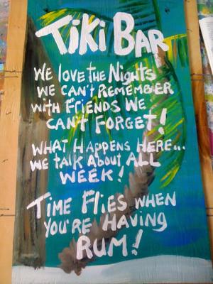 RhondaK mutiple funny saying Tiki Bar Sign Large with three sayings
