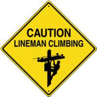 25 00 caution lineman climbing sign metal item sn010 12 lineman ...