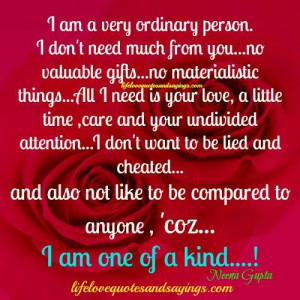 am a very ordinary person.