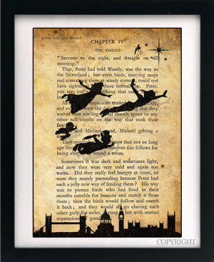 ... Flying Art Book Print - A4 or A3 Large Vintage Page Effect Wall Quote