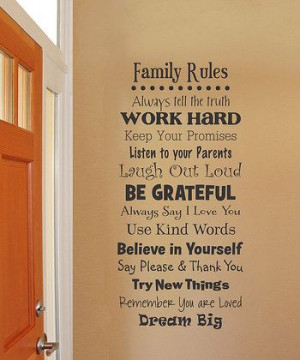 Whimsical Family Rules Wall Quote