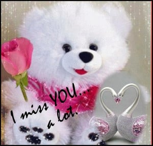 miss you, message given by a teddy bear lying on the bed.