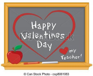 Happy Valentines Day and love my teacher greetings, red hearts on wood ...