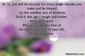 Sweet 16 Birthday Wishes for Daughter